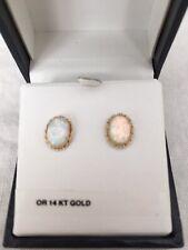 14K Yellow Gold Created Opal Earrings