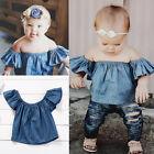 Toddler Kids Baby Girls Short Sleeve T-shirt Demin Blouse Tee Top Clothes Outfit