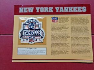 VINTAGE NFL NEW YORK YANKEES GOLDEN AGE FOOTBALL PATCH & CARD w 1926/27 STATS