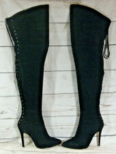 LoudLook Sexy Black Thigh High Over Knee Stilleto Boots Size UK 5