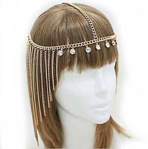 Cleopatra Rhinestone Tassel Forehead Hair Goddess Chain Headband Headpiece xx