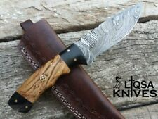 DAMASCUS STEEL CUSTOM HAND MADE SKINNER HUNTING KNIFE OLIVE WOOD HANDLE