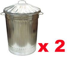 2 X 90 LITRE GALVANISED METAL BIN GARDEN RUBBISH DUSTBIN HOME STRONG WASTE BIN