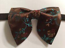Handmade Oversized Brown Teal Brocade Bow tie Vintage style 70`s Wedding Prom