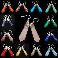 Natural Gemstones Hexagonal Pointed Healing Reiki Chakra Earrings Beads