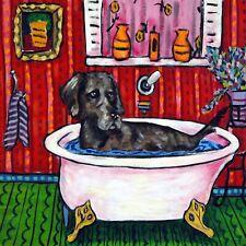 Weimaraner dog art bathroom print on ceramic tile coaster gift Jschmetz modern