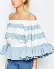 HALEY OFF SHOULDER BLUE & WHITE Ruffle Stripe BIG Sleeve Blouse/Shirt/Top M BHCS