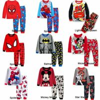 Spiderman Mickey Mouse Kids Toddler Baby Boys Pajamas Pjs Sets Clothes Age 2-8