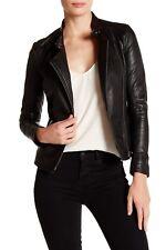 $600 Muubaa Delaney SHEEP Leather Biker MOTO Jacket BLACK 6 US 10 UK 38 EU