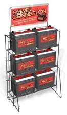 Floor 6 Battery Heavy Duty Display Rack - 3 Tier Sign Plate (Black)