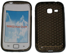 For Samsung Galaxy Ace Duos GT S6802 Pattern Soft Gel Case Protector Cover Black