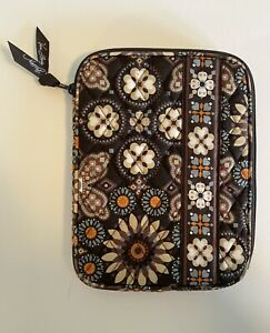 Vera Bradley Brown Geometric Floral Quilted Cotton Tablet E-Reader Zipper Case