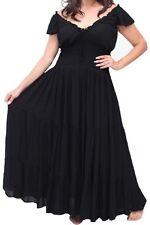 GOTH PEASANT BOHO BLACK TIERED FULL RAYON MAXI DRESS GYPSY 4XL 5XL 6XL 26 28 30