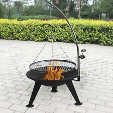 Barbecue Fire Pit, Large 65cm Bowl, Suspended Adjustable Chromed BBQ Grill