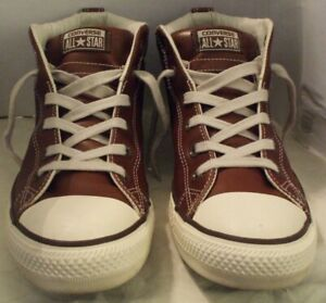 CONVERSE All Star Brown Leather High Tops #136420C Men's Size 9 Tennis Shoes