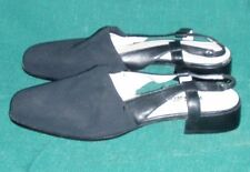 Michelle D. Womens Size 8 M Black Fabric & Leather Shoes Slingbacks Sandals, New