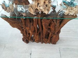 Glass Topped Console Table Solid Teak Root Coffee Table Hand Finished