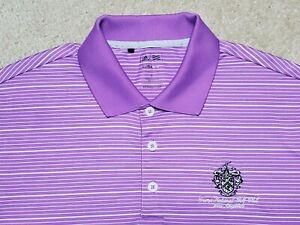 Trump National Golf Club Adidas ClimaLite Polo Shirt Men's Small Lilac Striped