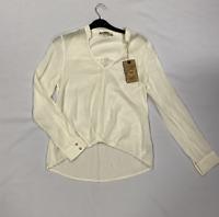 Patrizia Pepe Ivory Long Sleeve Shirt VNeck Ladies Size UK 8 (S) *REF135