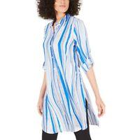 Alfani Top Blouse Elbow Sleeves Split Hem Blue Stripes Size L NEW NWT 367