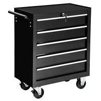 Carrello portautensili porta attrezzi officina arebos 5 cassetti con ruote nero