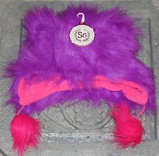 American Heritage So Girls Purple,Pink Monster Fur Beanie Hat Size S/M,Christmas