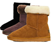 RJ07 NEW WOMENS FAUX FUR LINED GIRLS LADIES SUEDE WINTER COW SKIN FLAT BOOTS