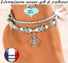 Chaine de cheville Boho Bohème turquoise 2 bracelets Tortue  pied Taille    X09