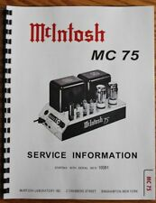 *USA* ULTIMATE McINTOSH MC75 SERVICE MANUAL TUBE AMP