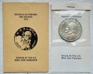 PANAMA KM# 27, 1973 SILVER PROOF ONE BALBOA - STRUCK AT U.S. MINT SAN FRAN OGP