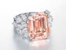 Fancy Emerald Marquis Solitaire Engagement Ring 21ct Cz 925 Sterling Silver Pink