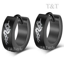 T&T Black Stainless Steel DRAGON Hoop Earrings EB01