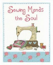"""Sewing Mends The Soul Cross Stitch Kit - DMC - BK 1433 - 8"""" x 10"""" - 14 Count"""