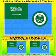 "SAUDI ARABIA AirForce Ensign Flag 100mm (4"") Vinyl Sticker, Decal x1+2 BONUS"