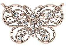 """Round Bezel Diamond Pendant in 14k Rose Gold 16"""" Cable Chain"""