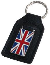Union Jack flag leather enamel car key ring / fob