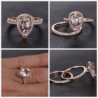18K Rose Gold Rings Set Engagement Jewelry Wedding Band Ring Size 6 7 8 9 10