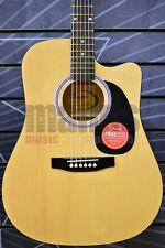 More details for fender electro acoustic guitar in natural squier sa-105ce dreadnought cutaway