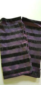 Two Striped Purple Velvet & Satin Like Pillow Cushion Shams Cases With Zips