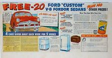 Vintage 1949 ad for Ford automobiles - color comic page - Win a V-8 Fordor Sedan