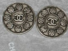CHANEL  2 METAL CC LOGO CAMELLIA FLOWER SILVER BUTTONS  18 MM / 3/4'' LOT 2