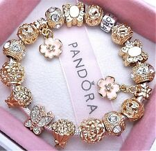 Authentic Pandora Bracelet Silver with LOVE HEARTS ROSE GOLD European Charms