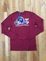 NWT Vineyard Vines Men's LS Maroon Football Whale Tailgate Pocket T-Shirt Small