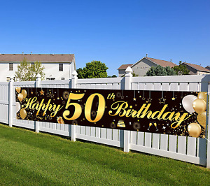 Happy 50th Birthday Black Gold Glitter Banner Party Sign Backdrop For Men Women