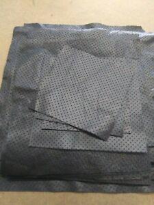 Pre- Cut Italian Lambskin leather Cut skin Lamb Perforated  Black  1.5 oz
