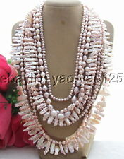 R070801 Stunning! 9Strds 24mm Biwa Pearl Necklace