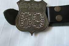 "LADIES ""RIPCURL GIRL"",  BLACK LEATHER BELT WITH BRASS BUCKLE/S"