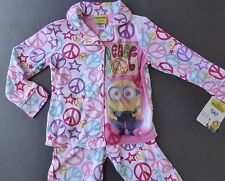 Minions Girls New Peace Pajamas size 4 pink Long-sleeved 2-pc NWT 4t PJs
