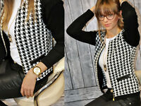 Women Girls Houndstooth Bomber Jacket Long Sleeve Slim Blazer Suit Coat Outwear
