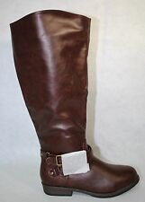 Journee Collection April Women Round Toe Synthetic Brown Wide Calf US Size 7.5